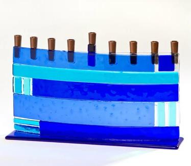 Blue Geometric Arc Fused Glass Menorah by Daryl Cohen