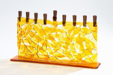 Amber Arc Fused Glass Menorah by Daryl Cohen