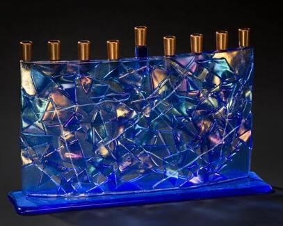 Blue Arc Fused Glass Menorah by Daryl Cohen