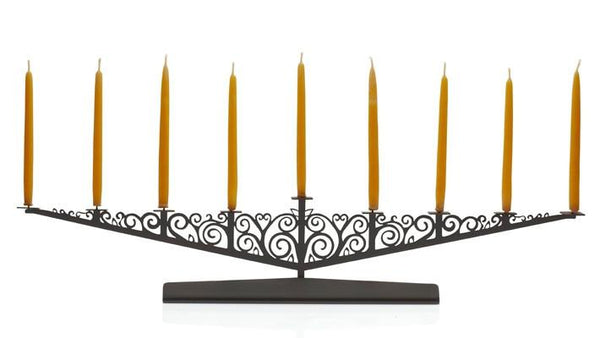 Valerie Atkisson Menorah Art Nouveau Menorah - Oiled Bronze
