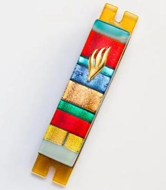 Multi-Color Warm Striped Fused Glass Mezuzah by Daryl Cohen
