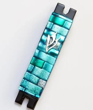 Sea Blue and Silver Brick Fused Glass Mezuzah by Daryl Cohen