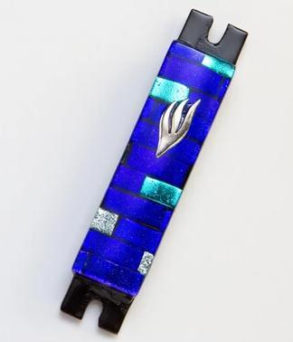 Royal Blue Brick Fused Glass Mezuzah by Daryl Cohen