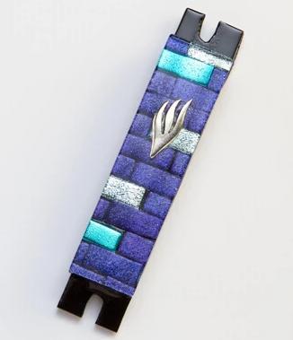 Violet and Aqua Brick Fused Glass Mezuzah by Daryl Cohen