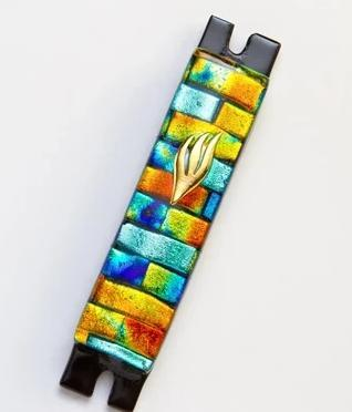 Gold and Aqua Brick Fused Glass Mezuzah by Daryl Cohen - ModernTribe