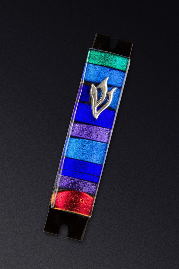 Multi Colored Stripe Glass Mezuzah by Daryl Cohen