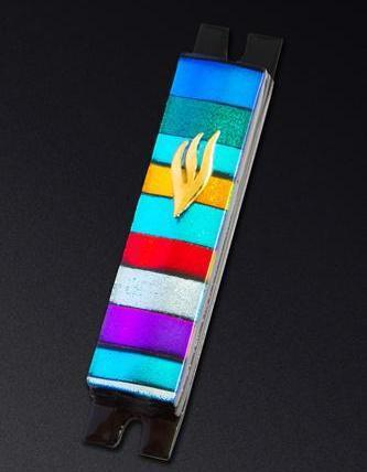 Multi Color Stripe Glass Mezuzah by Daryl Cohen
