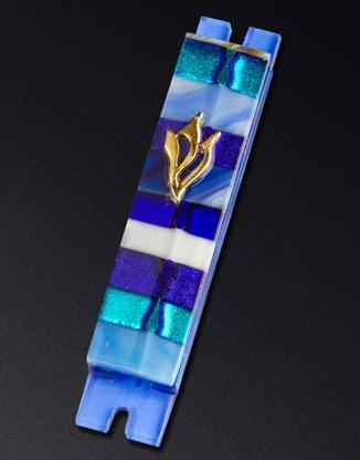 Blue Stripe Glass Mezuzah by Daryl Cohen - ModernTribe