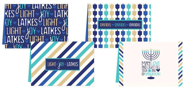 ModernTribe Card ModernTribe's Light, Joy, Latkes Hanukkah Cards - Set of 8