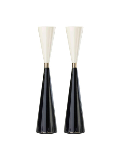 Night and Day Candlesticks - Platinum by Laura Cowan