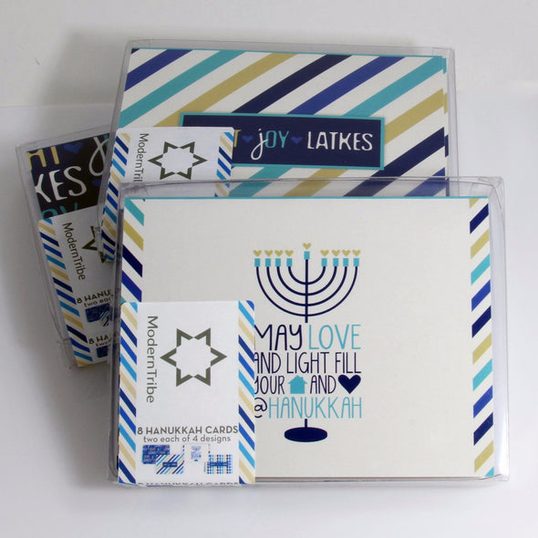 ModernTribe's Light, Joy, Latkes Hanukkah Cards - Boxes of 8 - Wholesale - Set of 3 by ModernTribe - ModernTribe - 6