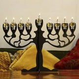 Oil Burning Olive Tree Steel Menorah by Art Bagalil - ModernTribe - 1