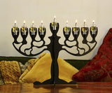 Oil Burning Olive Tree Steel Menorah by Art Bagalil - ModernTribe - 3