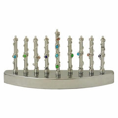 Blue, Green, and Purple Beaded Electric Menorah by Jillery - ModernTribe