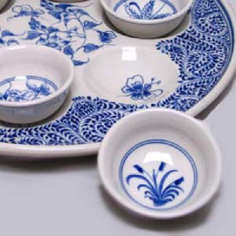 Hoa Lam Blue & White Seder Plate by Other - ModernTribe