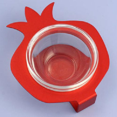 Shraga Landesman Serving Bowl Red Pomegranate Glass and Aluminum Bowl