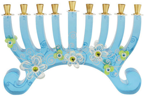 Lalo Treasures Funky Menorah -- In Blue by Orna Lalo - ModernTribe - 1