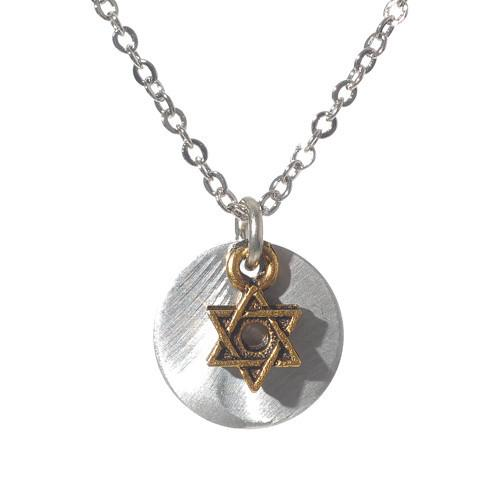 Jillery Necklaces Necklace / Silver Jewish Star Disc Necklace or Earrings by Jillery