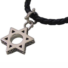 Guy's Star of David on Leather Necklace by Cynthia Gale GeoArt - ModernTribe