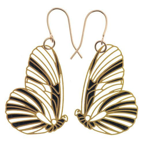 Butterfly Earrings in Kohl Gold by Polli - ModernTribe