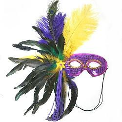 Purim Masks - Fancy Mardi Gras Eye Mask with Feathers by Other - ModernTribe