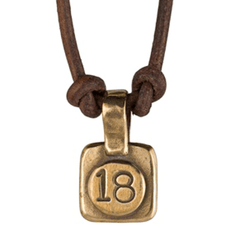 Chai -- To Life! -- Necklace in Bronze on Leather by Marla Studio - ModernTribe - 1