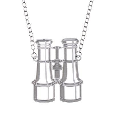 Polli Necklaces Silver Binoculars Pendant Necklace by Polli