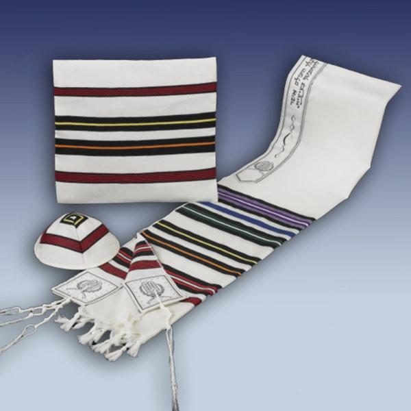 "Rite Lite Tallis Multicolored ""Bnei Ohr"" Wool Tallis, Kippah & Bag"