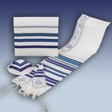 Classic Blue Striped Tallis, Kippah & Bag - 100% Wool - ModernTribe