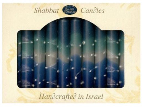 Turquoise, Blue & White Shabbat Candles | Set of 12 by Safed - ModernTribe
