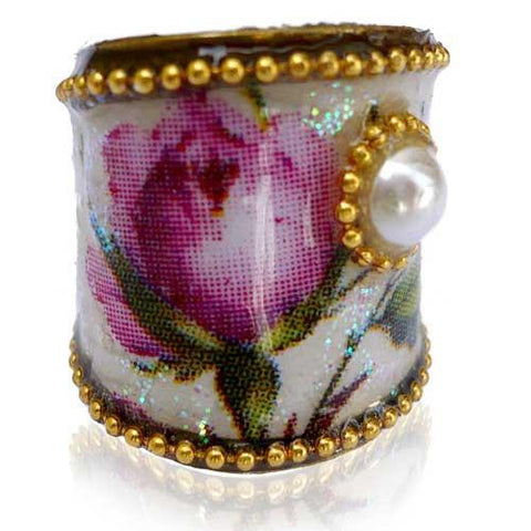 Silk Paper Collage Ring by Iris Design -- Pink Rose by Iris Design - ModernTribe