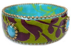 Leaves & Turquoise Beads Bangle Bracelet by Iris Design by Iris Design - ModernTribe - 1