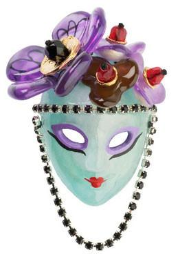 Purim Mask Jewelry Pin / Brooch by Orna Lalo by Orna Lalo - ModernTribe