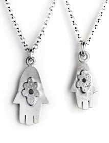 Emily Rosenfeld Necklaces Silver Mother & Daughter Hamsa Necklaces by Emily Rosenfeld