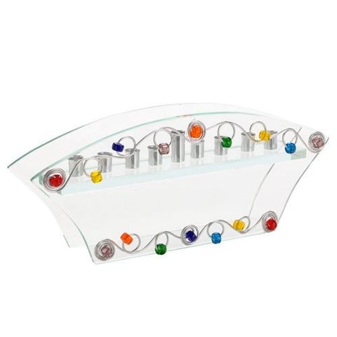 Curved Glass & Bead Menorah by Jillery by Jillery - ModernTribe