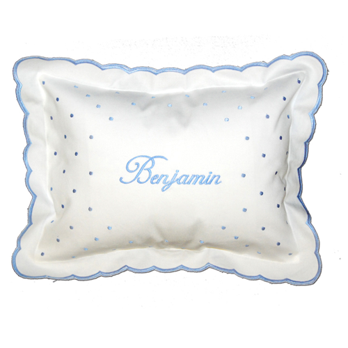 Personalized Blue Swiss Dot Scalloped Pillow by Damhorst Toys - ModernTribe