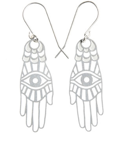 Polli Earrings Silver Hamsa Earrings in Stainless Steel by Polli