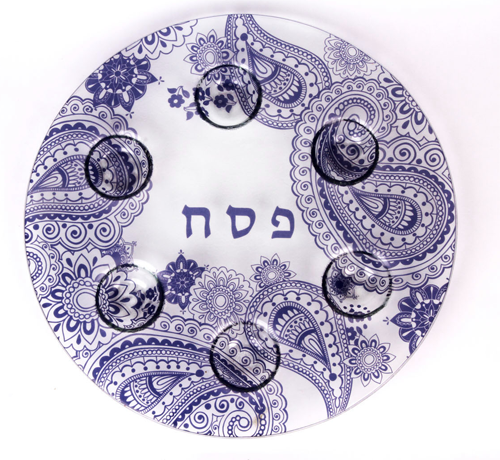 Navy Henna Paisley Seder Plate by Barbara Shaw by Barbara Shaw - ModernTribe