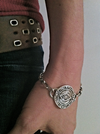 Sterling Silver Eye Medallion Heavy Link Bracelet by Marla Studio - ModernTribe - 2