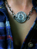 Sterling Silver Sun Medallion Heavy Link Choker by Marla Studio - ModernTribe - 2