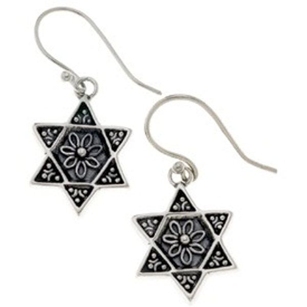 Jewish Museum Earrings Silver Afghan-Jewish Inspired Star of David Earrings