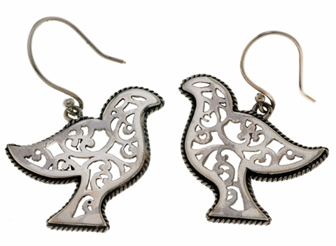 Sterling Silver and Mother of Pearl Peace Dove Earrings by Cynthia Gale GeoArt - ModernTribe