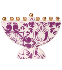 Damask Print Menorah by Barbara Shaw by Barbara Shaw - ModernTribe