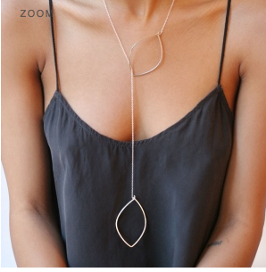 Double Drop Leaf Lariat Necklace by Boe by by boe - ModernTribe - 2