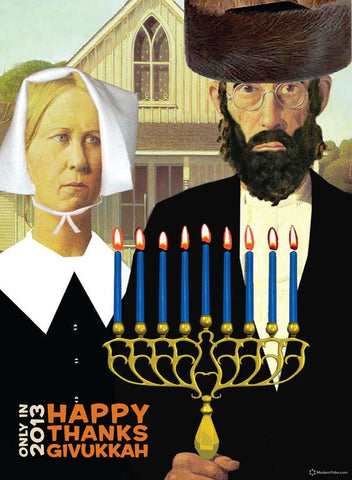 American Gothic Thanksgivukkah Poster by ModernTribe - ModernTribe