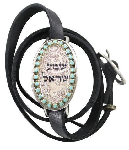 Paisley Shema Yisrael Kabbalah Leather Multiwrap Bracelet by Iris Designs by Iris Design - ModernTribe - 1