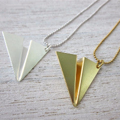 Shlomit Ofir Necklaces Paper Plane Necklace in Gold or Silver
