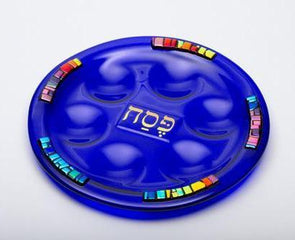 Blue Glass Seder Plate by Daryl Cohen