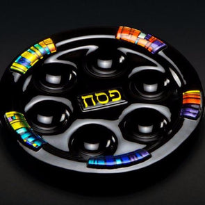 Black Glass Seder Plate by Daryl Cohen
