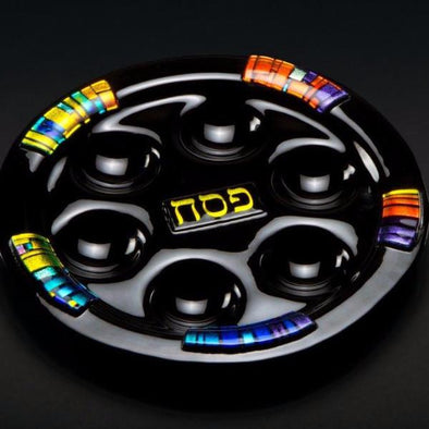 Black Glass Seder Plate by Daryl Cohen - ModernTribe